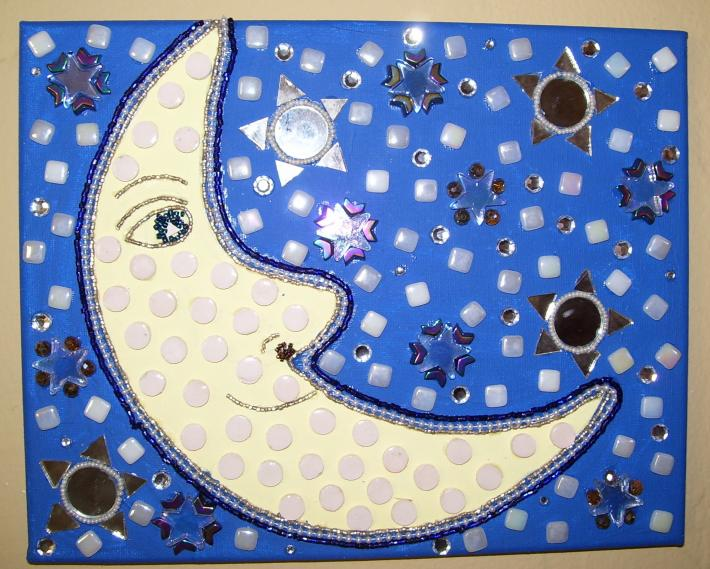 Mosaic Mixed Media Beaded Painting Moon Face yellow blue