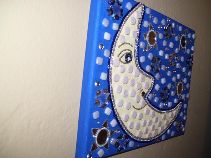 Mosaic Mixed Media Beaded Painting Moon Face yellow blue