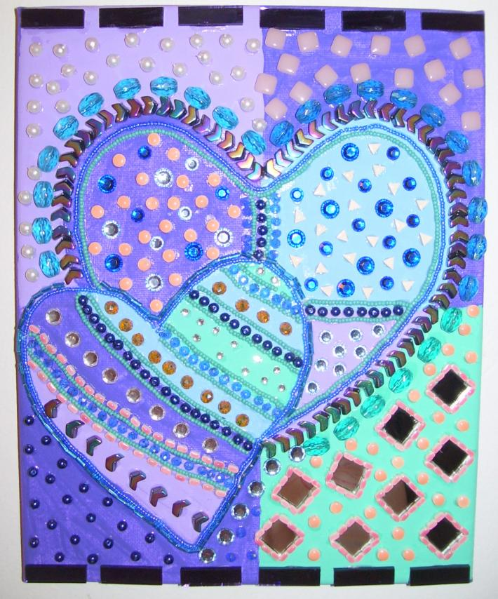 Mosaic Beaded Painting Heart Blue Purple Mirror