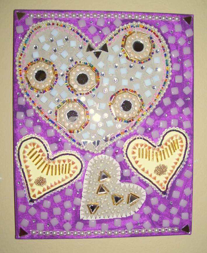 Mosaic Beaded Painting Pink Hearts