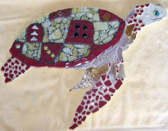 Sea Turtle Mosaic Wall Art red and gold