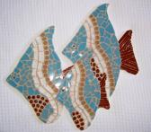 Fish Trio Mosaic blue gold brown