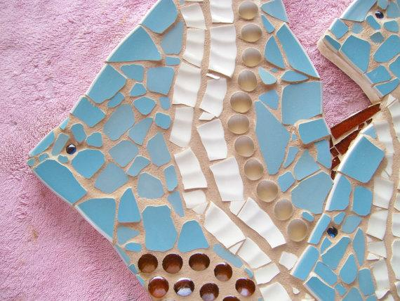 Fish Trio Mosaic blue gold brown