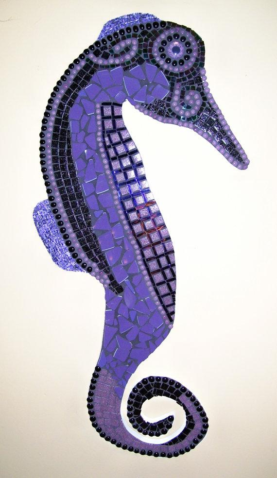 Seahorse Mosaic Purple and Black