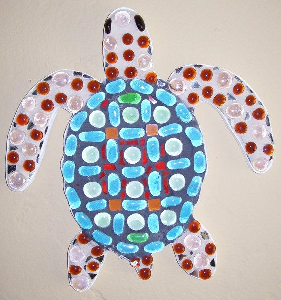 Turtle colorful wall art mosaic