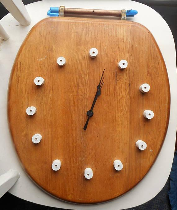 Toilet seat clock so you know when to go