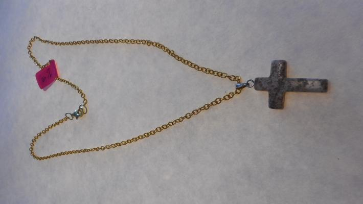 Cross Light Brown with Gold Chain