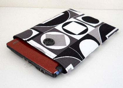 Netbook Sleeve  Black White and Gray Geometric