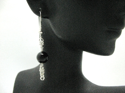 Sterling Silver and Black Jade Byzantine Earrings