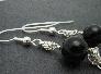 Sterling Silver and Black Jade Byzantine Earrings