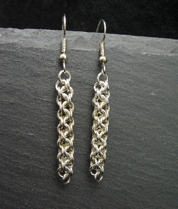 Sterling Silver Inverted Roundmaille Earrings