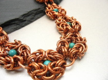 Copper and Turquoise Romanov Necklace