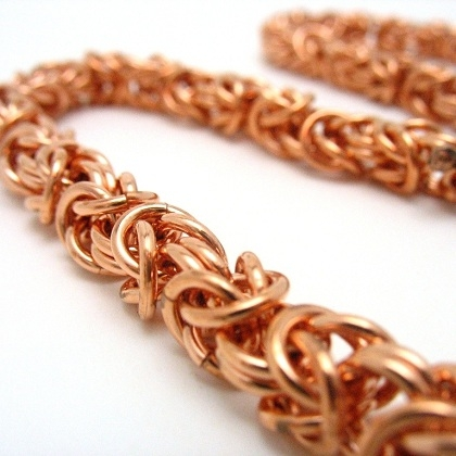 Copper Chainmaille Byzantine Necklace