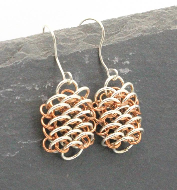 Sterling and Copper Dragonscale Earrings
