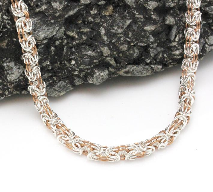 Sterling Silver and Copper Tryzantine Chainmaille Necklace