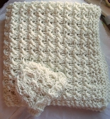 Hand Knit Baby Receiving Blanket with Matching Hat in Cream