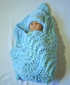 Baby Blue Hand Knit Receiving Blanket