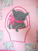 Vibrant Pink Baby Quilt with Kitties