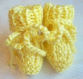 Lemon Yellow Hand Knit Baby Booties