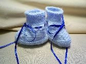 Baby Blue Hand Knit Booties  0 to 3 Months