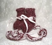 Fuzzy Burgundy Mohair Hand Knit Baby Booties 0-3 Months