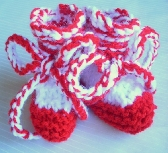 Festive Red and White Baby Booties