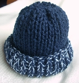Hand Knit Toddler Hat in Navy Blue