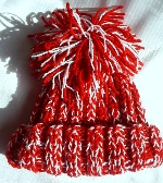 Hand Knit Red and White Toddler Hat