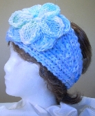 Baby Blue Knit Ladies Headband with Flower