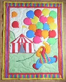 Hand Quilted Baby Quilt Clown with Balloons