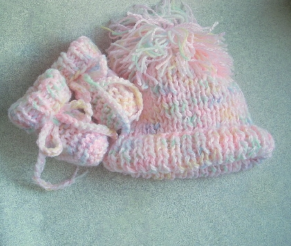 Reserved for Lien Pink MultiColor Hand Knit Baby Receiving Blanket