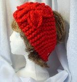 Red Hand Knit Flower Headband