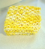 Hand Knit Cotton Sunny Yellow and White Wash or Dish Cloth