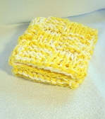 Hand Knit Cotton Yellow and White Dish or Wash Cloth