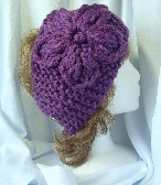 Purple Hand Knit Ladies Headband with Flower