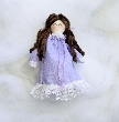 Tiny Brunette Handmade Rag Doll in Lavender