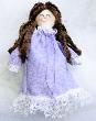 Tiny Brunette Handmade Rag Doll in Lavender