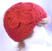 Hand Knit Red Ladies Headband with Flower
