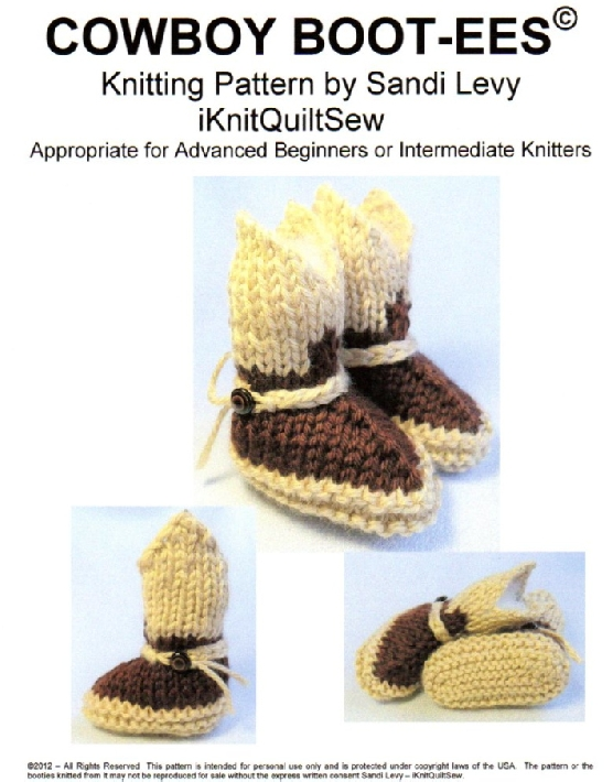 Cowboy Boot Booties PDF Knitting Pattern New Born Size