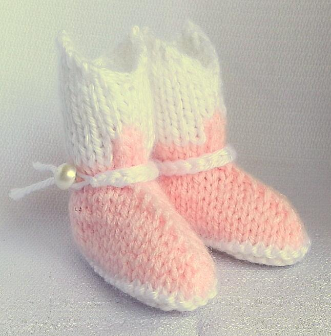Pink and White Hand Knit Cowgirl Boot Booties