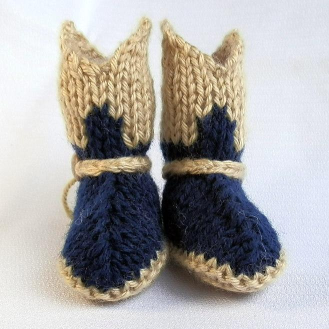 Baby Cowboy Booties Hand Knit in Navy and Tan