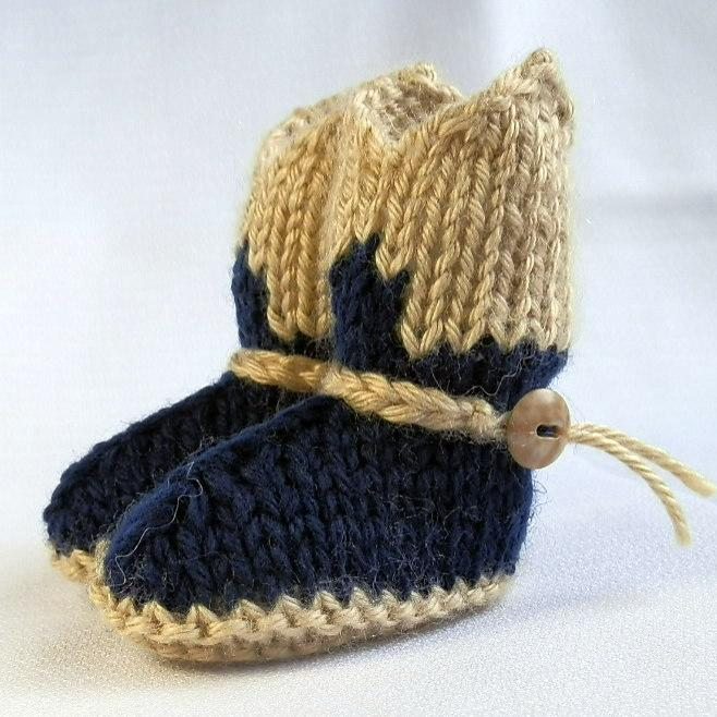 Knitting Pattern Baby Cowboy Booties : Baby Cowboy Booties Hand Knit in Navy and Tan on Handmade ...