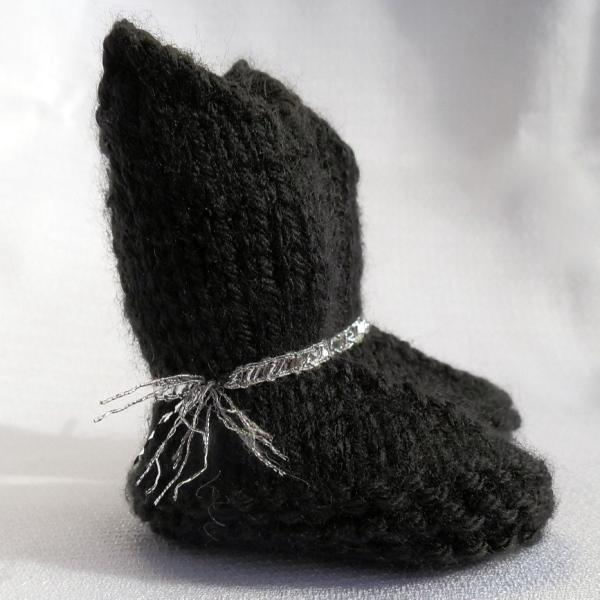 Baby Cowboy Booties Dress Black with Silver Trim Hand Knit
