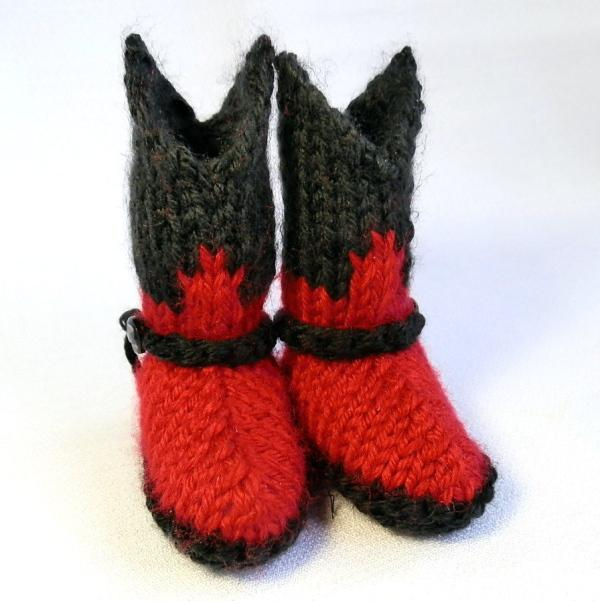 Baby Cowboy Booties Hand Knit in Black and Red