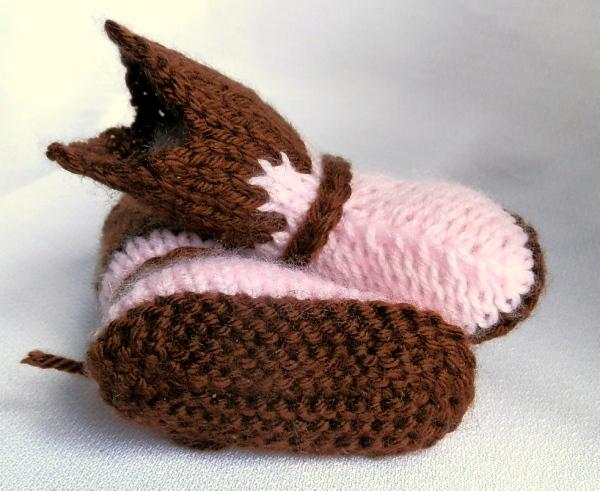 Cowgirl Baby Booties Hand Knit in Pink and Brown