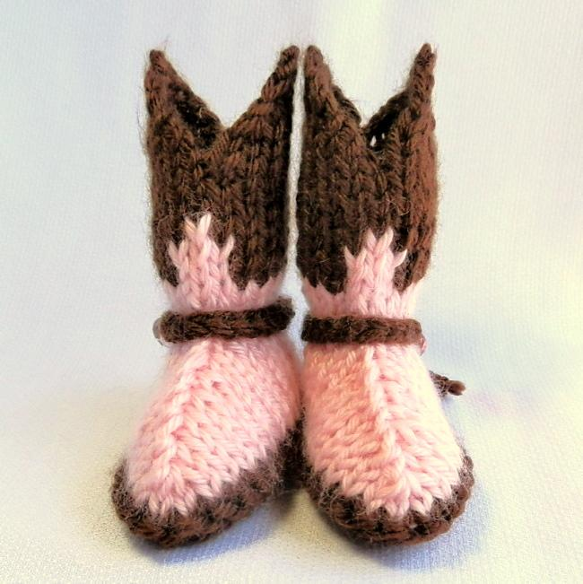 Baby Cowgirl Booties Hand Knit in Pink and Brown