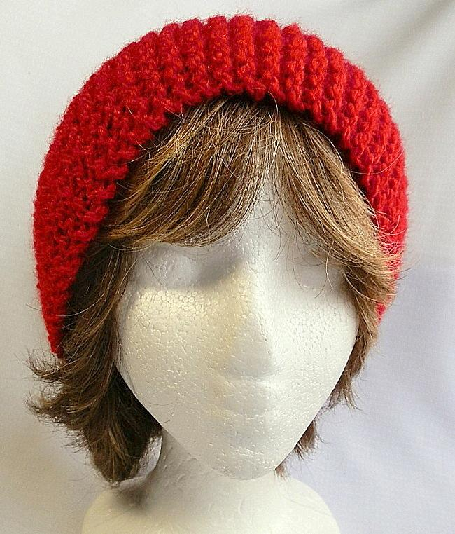 Ladies Headband Hand Knit in Bright Red