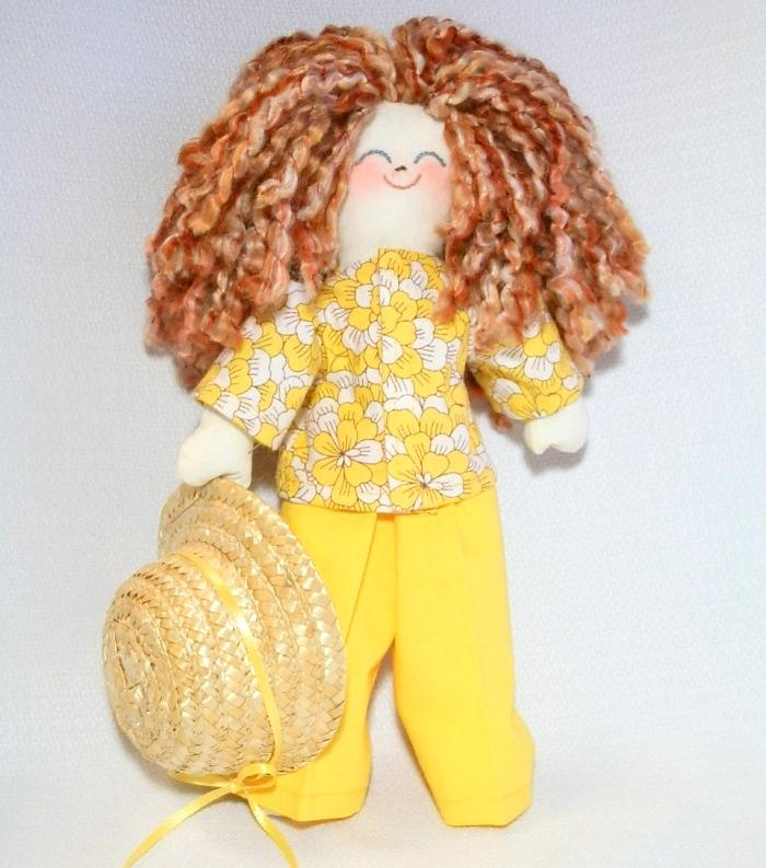 Handmade Rag Doll Redhead in Yellow
