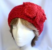 True Red Hand Knit Ladies Headband with Knit Flower