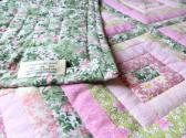 Hand Quilted Log Cabin Lap or Baby Quilt in Pinks and Greens